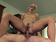 Hot blonde, Hannah West, gets her pussy and ass fucked from behind