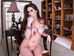 Allison Moore with big breasts and bald beaver makes her sexual fantasies come true in solo scene