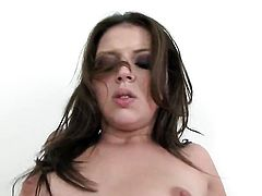 Missy Stone with small boobs and trimmed twat asks her man to stick his beefy schlong in her mouth