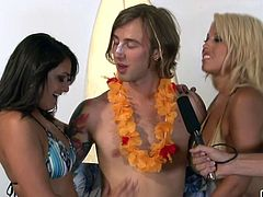 Stoner Spicoli gets his cock sucked by a sexy blonde and a hot brunette. The girls share he shaft and then kiss each other sensually. The hot babes even let him slap his cock against their big boobs, and he loves that.