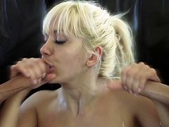 Tantalizing pornstar giving a steamy blowjob before being drilled hardcore