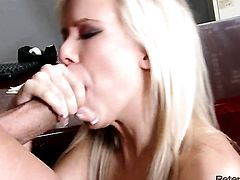 Britney Beth finds it exciting to be face fucked by Peter North in front of the camera