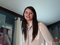 Brunette Alice March with tiny tities and trimmed snatch touching her slit