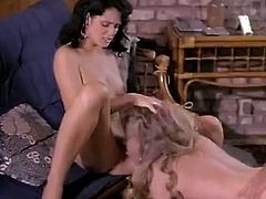 Classic Porn Scenes brings you a hell of a free porn video where you can see how these vintage blonde and brunette sluts share a cock while assuming hot poses.