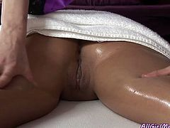 Sex hungry brunette babe eagers to taste hot kitty of her slim pal