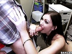 Kendall Karson with phat booty gives handjob to one lucky dude