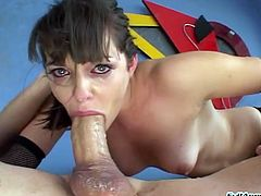 Insatiable dark haired filth blows super thick sloppy cock in 69 pose