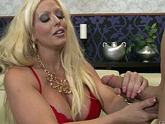 If you are into horny milfs, click to enjoy, watching a versed lady with blonde long hair, pleasing her partner and getting, what she wants most- a hard dick. After undressing and getting more comfortable, slutty Alura starts sucking cock with a lusty wish. The red bra suits her. See the busty bitch getting loose!