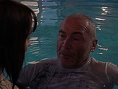 Old and young fucking on the pool! The young girl is eating an old dick and she gets back an old cunnilingus and a great experienced fuck from the old guy!