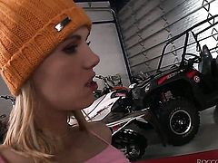 Sindy Vega is good on her way to make hard dicked guy Rocco Siffredi shoot his load on oral action