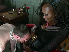 This white boy slave is tied in rope and guided toward his shemale mistress black cock. She makes him show, how well he can suck on her lady cock. The ebony tranny domme wanks him off, as she pounds his butthole.