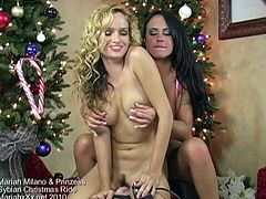 Hot curly hair blonde rides a Sybian
