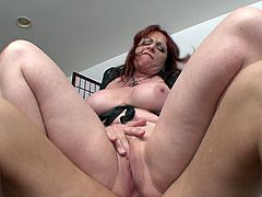Redhead Cowgirl with Fake Tits masturbates passionately then gives amazing Blowjob as her Anal pounded and Cums In her Mouth