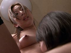 The kitchen seems the best place to make out, when lusty desires cross these horny Japanese bitches' minds. The brunette has a hairy horny cunt, just waiting to be eaten and fingered. Fishnet stockings and panties are quickly removed, to reveal their intimate body parts. Click and enjoy seeing them getting wild!