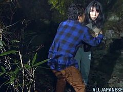 A bald guy and his brunette lover are enjoying their night out in the woods, when they surprise another couple, who is fucking outside: it's a slutty babe banged hard from behind. Click to watch the bitches getting excited, as their horny pussies are fingered and rubbed. The night is long, see what happens!