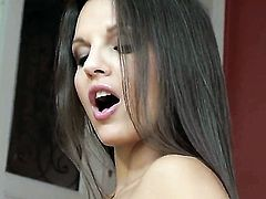 Eve Angel shows nice solo tricks with her new toy