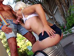 Tantalizing blonde with hot ass awarding her horny guy with blowjob before moaning while her anal is being feasted hardcore outdoor
