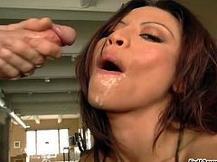 Jayna Oso in thong gives blowjob in POV before taking cum in mouth