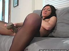 Sexy slut Alyssa is wearing her pantyhose and she has a big dildo, that she is playing with. She demonstrates, how to jerk off your cock, by showing what to do on the dildo. Watch, as she shoves the dildo in her warm cunt and wish, that it was your cock.