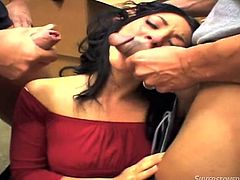 An Asian milf gets as much cock, as she wants. The slutty lady seems versed and is very playful, in the presence of two horny guys. Down on knees, she lets her lovely tits reveal themselfves from the red dress, and takes turns in sucking cocks. Click to see her banged hard sideways, while sucking dick. Enjoy!
