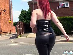 If you like horny shaved pussies, click to see a gorgeous lady walking down the street and looking to find a more remote place, to show the camera her lusty cunt. She's dressed in black pants and wears a top, which leaves you wondering, how her tits look. Watch her exposing her butt from the profile. Yummy!