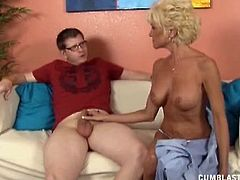 Mature Nikki heard rumors on the neighborhood that this young guy Billy got the hots for her and is a granny lover and she booty called him here as she want to see him cum through jerking.