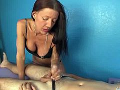 Soliel is an experienced milf when it comes to massaging in general and also to massaging cock. She helps a client relax by using her hand to make him cum.