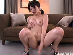 Kinky Asian babe with natural tits and long hair in high heels delivering raunchy blow jobs before enthralling herself with a toy