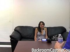 Lydia showed up at the Backroom Casting Couch looking to make a little extra money and I guess her boyfriend really needed her to do a good job, because he kept calling on the damn phone. It didn't bother the video grapher too much though, he fucked her mouth and pussy and ass before busting his nut all over her face!