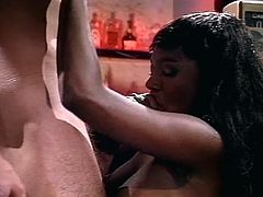 Hardcore interracial pussy pounding in super hot vintage style as long hair stud drills monster tits ebony slut in bar.