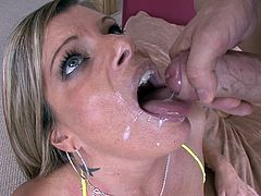 Charming MILF with Big Tits and in Bikini rubs her nipples then Fingers her Shaved Pussy gives Blowjob and Titjob before Fucked on Cumshot
