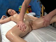Jaslene Jade is one of the pretty chicks out there in the neighborhood and today she is in for a free sensual massage. She got shocked by massaging her shaved cunt but loves it anyway and goes all the way.