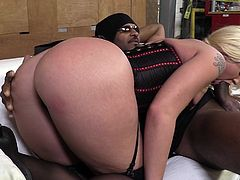 Beautiful cowgirl in high heels liking big balls before getting her anal being drilled hardcore doggystyle in interracial sex