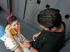 A brunette cheerleader gets a one on one from the coach. She opens her mouth and spreads her legs for his cock. Her smooth pussy takes it hard. In a hot Playboy video!