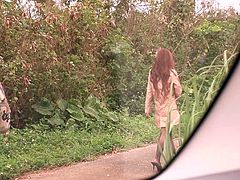 This lucky guy was driving through the countryside in Saitama prefecture, when this big breasted slut came out of nowhere, and pressed her huge boobs up against the glass window of his car. Soon, she is on her knees sucking him off in the shack, like a slut.