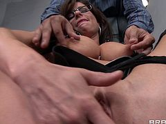 Veronica Avluv takes the huge cock in her mouth for a hot blowjob and her pussy gets nailed doggystyle hardcore.