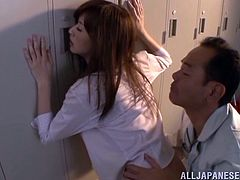 This hot brunette teacher is going to get fucked hard by her colleague in the locker room tonight. The Japanese teacher is moaning as he grabs her and eats her ass out from behind. He kisses her hard and plays with her pussy after squeezing her ass.