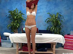 Sativa Rose gets massaged and fucked and she is loving his oily encounter. Sexy 18 year old Rose sucks and fucks her massage therapist after being seduced on the massage table.