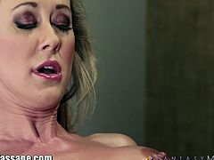 Blonde cougar got horny because of this pretty busty masseuse's massage and it ignites the fire on both of them as soon as she massages her fine pussy resulting in a hot 69.