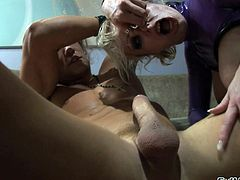 Horny pornstars in group sex gets their hot ass and pussy filled with cocks while giving blowjob and handjob in leather and high heels