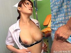 This sexy hottie opens up her blouse, to let her patient lick on her boobs and nipples. Let's see, if that will make him feel better. She knows the cure to what ails him, is a nice boob fuck, so she wraps her natural titties around his throbbing erection, to get him off. She ends with a blowjob.