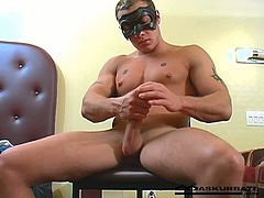Young muscled guy Charley Chase strips and perform for the first time in a mask stroking that big hard cock starting out nice and slow then working himself into a frenzy in this free tube video.