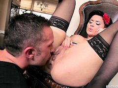 Brunette bitch Eva Angelina gets all her holes fucked hard & enjoys it