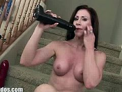 Catherine got two new dildos and they are the biggest of them all. Because she practices anal mostly she immediately tried it out on her asshole resulting in mix of pain and happiness.