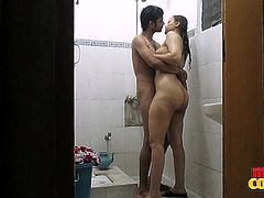 Sonia's favorite place to have sex, is in the shower. She and her man have so much fun, getting soaking wet and fucking each other hard. The cute couple kissing with glee and they get nice and horny together, by sharing wet sex. When he grabs her butt, it jiggles.