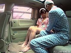If you've got fantasies with perverse hungry nurses, see a Japanese slut, who's got the right remedy, to cure an injured horny pacient. The brunette bitch undresses, as her tits are squeezed, before exposing her lovely buttocks to the camera. Watch the kinky nurse, sucking cock on knees, in the emergency car!