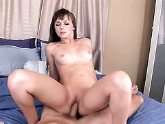 Capri Anderson with small boobs and trimmed twat gets her mouth destroyed by dudes fuck stick