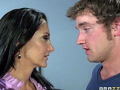 Sexy teacher Ava needs to teach her student a lesson for being late. She pulls her tits out and makes him have sex with her, in front of the whole class. She deepthroats his cock and sucks on his balls, while the other students watch.