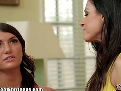 Couples Seeking Teens brings you a hell of a free porn video where you can see how these brunette teen and milf share a hard rod of meat while also going lesbo.