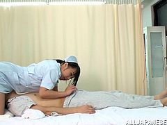 Asian nurse with shaved pussy getting rough face fucking in reality shoot